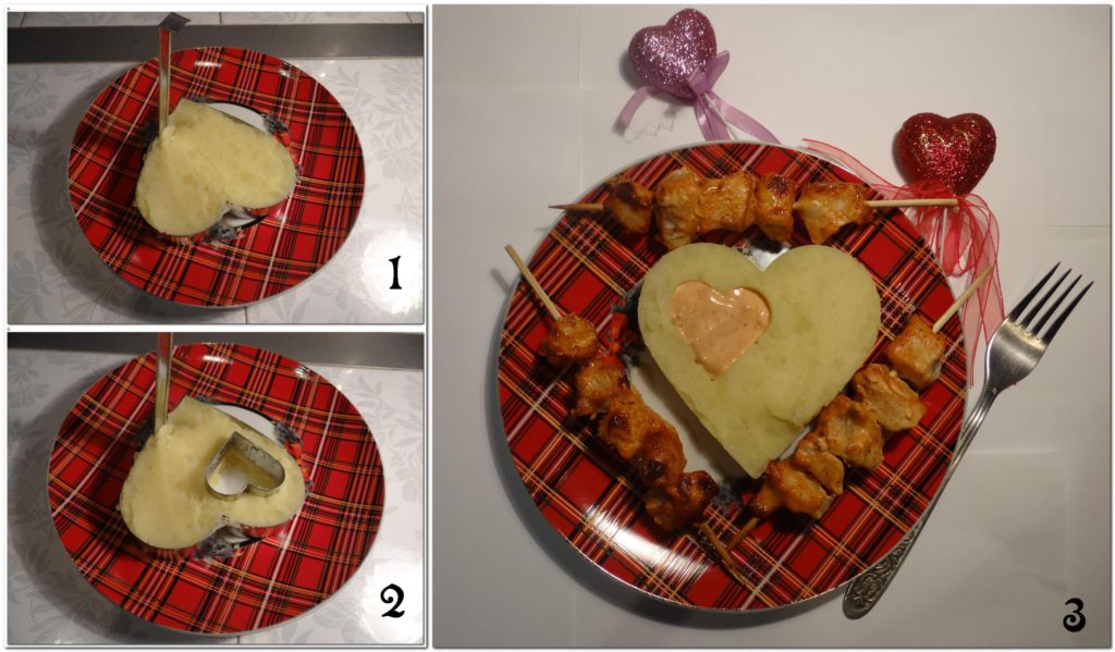 картофельное пюре с шашлычками в виде сердечка