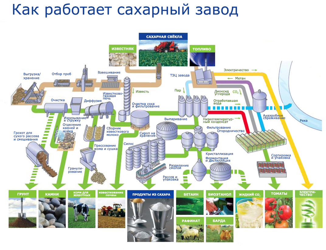 схема работы сахарного завода