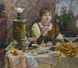 дама пьет чай из блюдца
