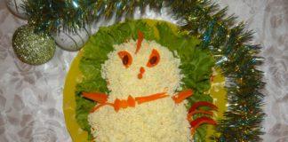 салат мимоза в виде цыпленка